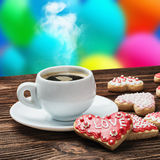 Cup of coffee and premium cookies for Valentine Stock Photos