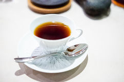 Cup of coffee prepared with a Chemex coffee maker royalty free stock photos