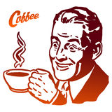 Cup of Coffee presented by Vintage Man Royalty Free Stock Images