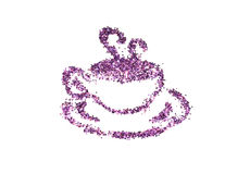 Cup of coffee of purple glitter sparkle on white background Stock Photos