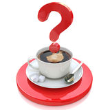 Cup of coffee and a question. For the design of information related to the resolution of problems Stock Photo