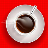 Cup of coffee on red background. Vector Stock Photo