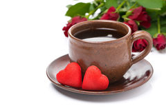 Cup of coffee, red candy, gift and roses for Valentine's Day Royalty Free Stock Images