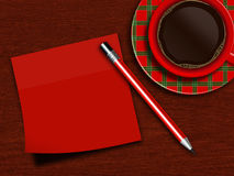 Cup of coffee with red chit and pencil Royalty Free Stock Photography