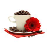 Cup of coffee and red flower. On a white background Royalty Free Stock Image