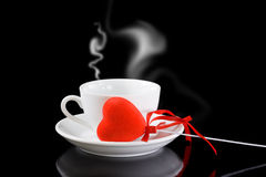 Cup of coffee with red heart Royalty Free Stock Photo