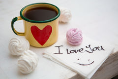 Cup Of Coffee. Coffee in cup with red heart and dessert. Handwriting I love you. Creative concept Royalty Free Stock Photos