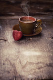 Cup of coffee and red heart Royalty Free Stock Image