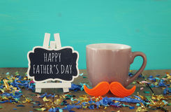 Cup of coffee with red mustache. Father& x27;s day concept Royalty Free Stock Image
