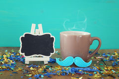 Cup of coffee with red mustache. Father& x27;s day concept Royalty Free Stock Photos