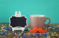 Cup of coffee with red mustache. Father& x27;s day concept Stock Photos