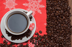 Cup of coffee on a red napkin Royalty Free Stock Photo