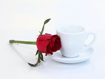 Cup of coffee with red rose Stock Photography