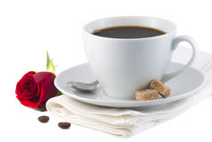 Cup of coffee and red rose flower Royalty Free Stock Image