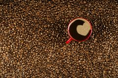 Coffee cup on coffee beans in close up photo. Cup of the coffee relating to coffee beans Stock Images