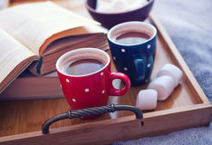 Cup of coffee. On retro vintage wooden tray Royalty Free Stock Photo