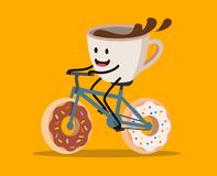Cup of coffee riding bicycle. With donuts weels Stock Photos
