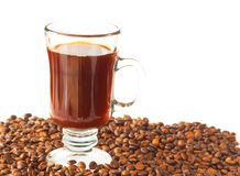 Cup of coffee and roasted beans Royalty Free Stock Photo