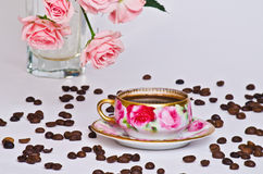 Cup of coffee and rose  Royalty Free Stock Image