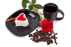 Cup of coffee with  rose Royalty Free Stock Photography