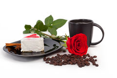Cup of coffee with a rose stock photography