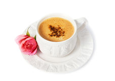A cup of coffee with rose Royalty Free Stock Photos