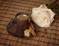 Cup of coffee with rose Royalty Free Stock Photos