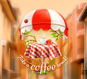 Cup of coffee with rose on a table in cafe royalty free illustration