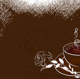 Cup of coffee with rose. Vector illustration Royalty Free Stock Image