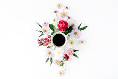 Cup of coffee with roses and flowers Royalty Free Stock Photos