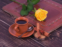 Cup of coffee and roses Stock Photos