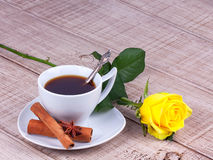 Cup of coffee and roses Stock Image