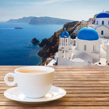 Cup of coffee on  Santorini Stock Image