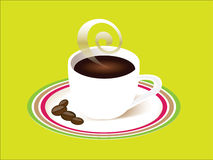 Cup of coffee with saucer. Cup of steaming coffee with saucer, some coffee beans Stock Photo