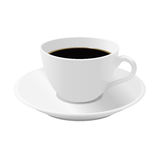 Cup of coffee on a saucer. White cup of black coffee on a saucer Stock Photo