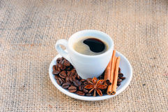 Cup with coffee on saucer.  Stock Images
