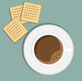 Cup of coffee on saucer with biscuits. Flat illustration. Concept beginning. Breakfast in the cafe. Lunch at the office Royalty Free Stock Images