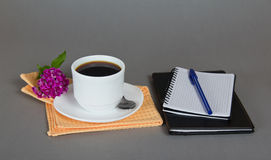 Cup of coffee with a saucer Stock Images