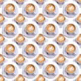 Cup of coffee on a saucer and two sachets of sugar. Seamless pattern. Espresso coffee. Coffee background. Cup of coffee on a saucer and two sachets of sugar Royalty Free Stock Images