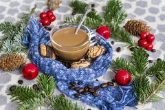 Cup of Coffee with Scarf  and Tea Biscuits Royalty Free Stock Images