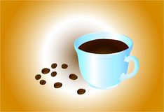 A cup of coffee with scattered coffee beans, against the background of `coffee with milk. `Vector illustration Stock Images