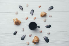Cup of coffee and sea shells on a white background. Cup of coffee and sea shells on a white wooden background Royalty Free Stock Image