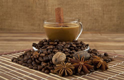 Cup of coffee and seasoning Stock Images