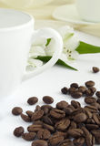 Cup of coffee and seed. Cup of coffee with seed and flower royalty free stock photo