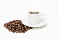 Cup of coffee with seed. On white background stock photo