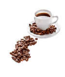 A cup of coffee and seeds Royalty Free Stock Photography