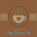 Cup with coffee seeds heart. Happy Valentines day  Royalty Free Stock Image
