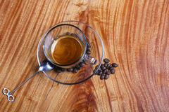 A cup of coffee seen from above Stock Images