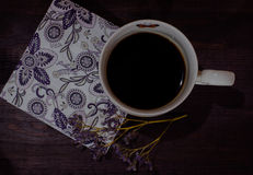 Cup of coffee with serviette Royalty Free Stock Photography