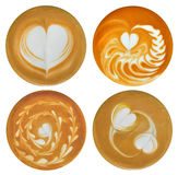 Cup of coffee. Set of heart-shaped latte art , coffee isolated on white background royalty free stock image